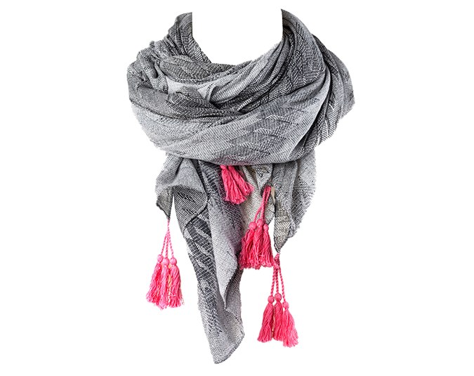 Grey and neon pink  Scarf $50 from Decjuba.: [object Object]
