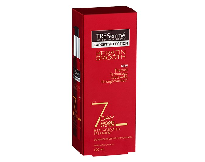 Smooth and straight   Tresemmé Keratin Smooth – this line is all about getting smooth, straight hair without any damage. The 7 Day Keratin Smooth Heat Activated Treatment $14.49 is designed to be used with flat irons for results that last. Apply before blow-drying.
