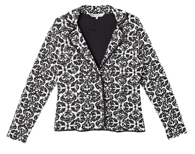 Patterned jacket  A well-fitted jacket can help your shoulders look strong and your waist small. Soft, modern stretch fabrics make jackets a lot nicer to wear than the stiff blazers we used to have to put up with.  Jacket $99.99 from Farmers.
