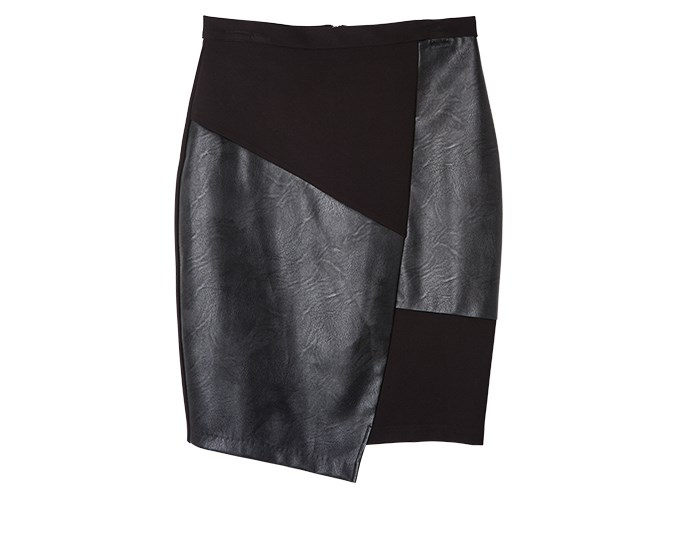 Leather skirt  This winter, leather remains a hot look. Real or fake, try adding leather to your wardrobe with a full garment or detailing. Made up of four panels, the skirt above has an asymmetrical hemline that gives it a modern edge.  Skirt $119.99 from Farmers.