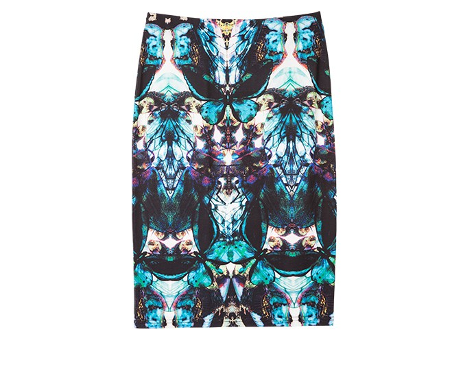 Graphic print skirt  It's a controversial concept, but I think skirts are easier to wear in winter than they are in summer. Boots and tights can make anyone's legs look great. Bold photographic and kaleidoscopic prints are very popular right now and will cross over to the summer months when everything is set to go print mad.  Skirt $49.99 from Farmers.
