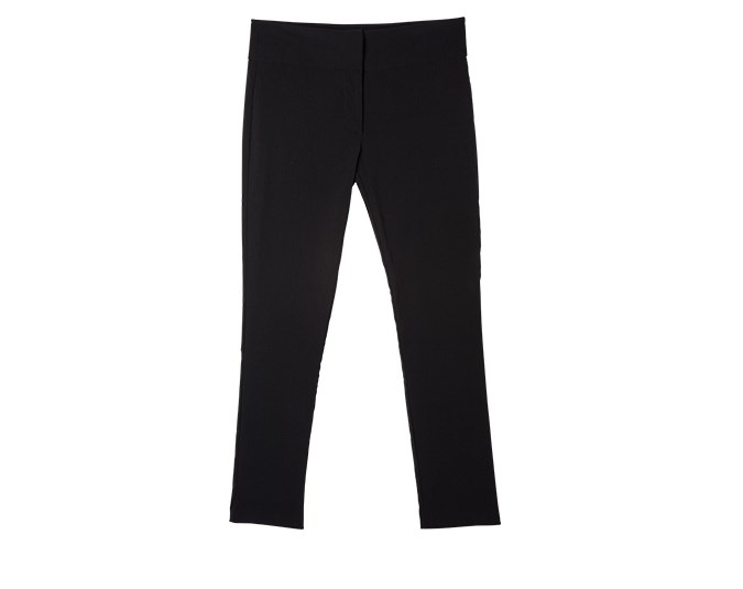 Classic black pants  Well-fitted black trousers are an investment worth making. Keep searching until you find a pair that are comfortable and make you look fantastic. Pull-on pants in thick fabrics are very forgiving and great under longer tops and tunics. Once you find a brand that fits you well, stick with it.  Pants $39.99 from Glassons.