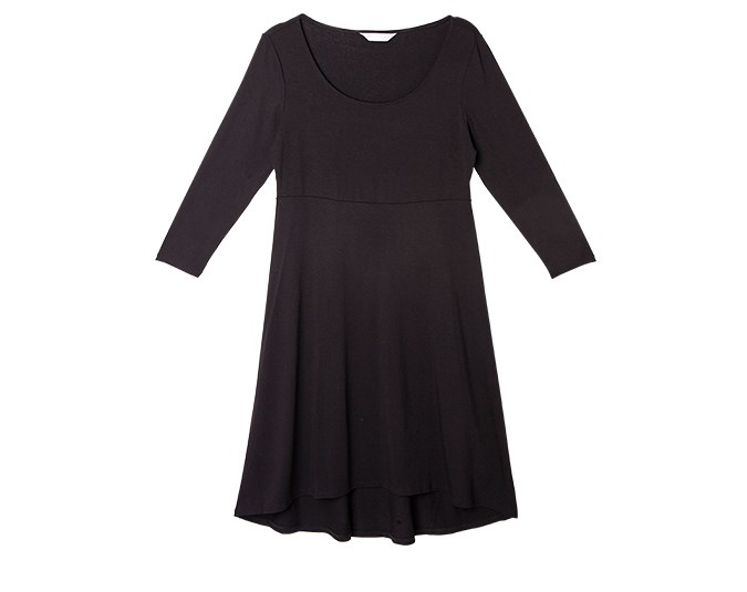 Little black dress  Worn with boots and a scarf, winter dresses look chic and feminine. Invest in thick smoothing tights that will give you sleek lines and keep your legs warm at the same time. Win-win!  Dress $69.99 from Jacqui-E.