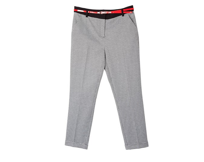Patterned pants  I love patterned pants, and this houndstooth pair is perfect. The addition of the red belt is fun if you want to show off your waist, but is entirely optional. Worn with a long slouchy jumper or crisp white shirt, these trousers will never date.  Pants $109.99 from Jacqui E.