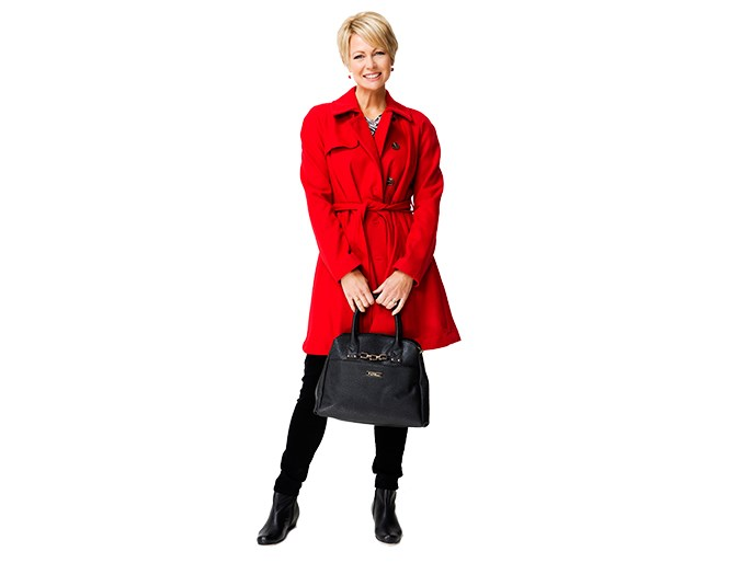 Winter coat  Choosing a winter coat in a bold colour that you love is a great idea – it means you will always feel good wearing it. Most of us spend the winter in dark colours so having a coloured coat can transform your wardrobe.  Coat $179.99 and shirt $39.99 both from Portmans. Pants $119 from Max. Earrings $17.99 from Jacqui-E. Handbag $99.99 from Farmers. Shoes $299 from Ziera.: [object Object]