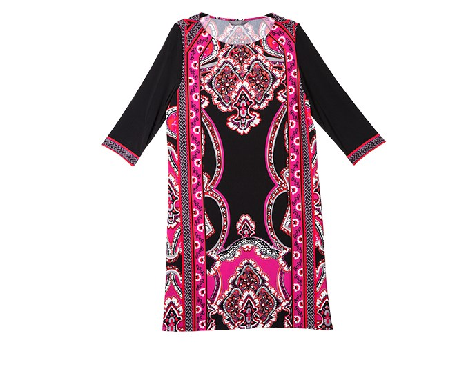 Dress to impress  This pink panel dress can be worn over leggings or dressed up in the evening for dinner out. A plain black winter dress is a wardrobe staple. It can be dressed up or down and layered for warmth. Look for a simple, flattering shape. A full skirt will cover wider hips and a shorter hemline will show off fab legs.  Dress $119.99 from Jacqui-E.