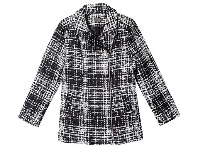 Coat check  A black and white textured or patterned coat is great for wearing with more toned-down basics. Monochrome prints work with all colours, while patterns can add interest to plain outfits.  Coat $279.99 from Jacqui-E.