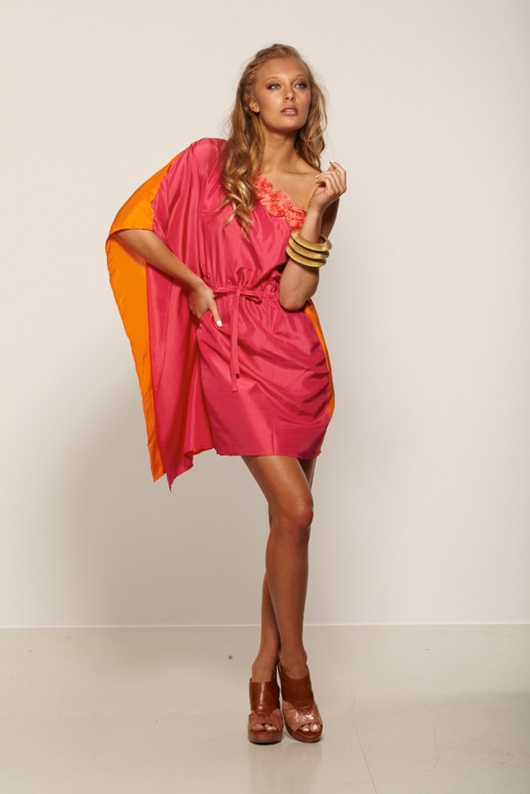 Augustine's Payten dress in orange and hot pink silk is a must have for the wedding and races season.