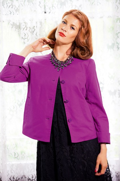Essentials linen jacket $59.99 (8-22), Emerge lace dress $79.99 (8-22), both from EziBuy. Statement necklace $39.99 from Diva