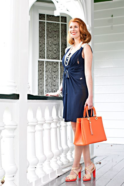 Grace Hill tie front dress $89.99 (8-20) from EziBuy. Pearl necklace $22.99, Pearl cuff $9.99, both from Equip. Flay bag $280, Raven heels $230, both from Mi Piaci