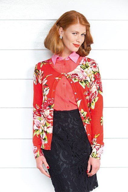 Two-tone blouse $169 (XS-XL) from Trenery. Emerge Rose cardi $79.99 (8-22), Emerge lace skirt $69.99 (8-22), both from EziBuy. Diamante earrings $10.99 from Diva