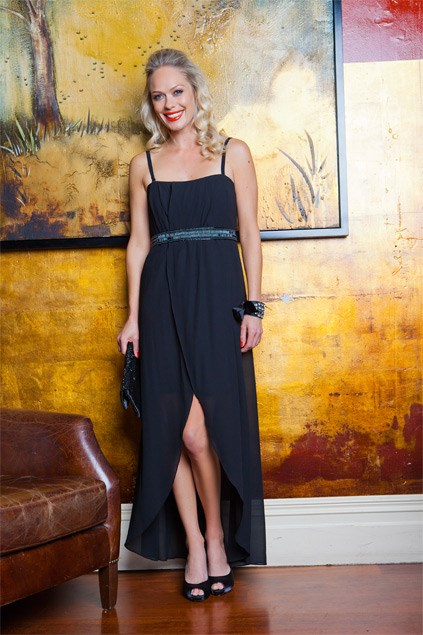 Classic black: Slimming and classic, the LBD will never go out of style. You may not stand out in the crowd, but if quiet, sophisticated glamour is your thing, it's best to opt for black. Sabine dress $139.99 (8-16) from Farmers. Ribbon cuff $24.99 from Equip. Bead clutch $59 from Max. Mini satin heels $179.90 from Overland.