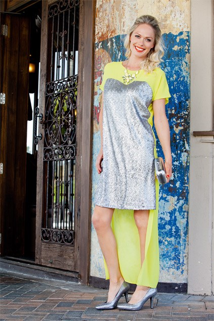 Long & short hems: The high-low hemline is everywhere this season. Yellow is my party colour of choice as it is fresh and fun. Sequinned dress $199 (XS-L) from Augustine International. Gem necklace $44.99 from Portmans. Box clutch $39.99 from Equip. Sharp sequinned heels $290 from Mi Paci.