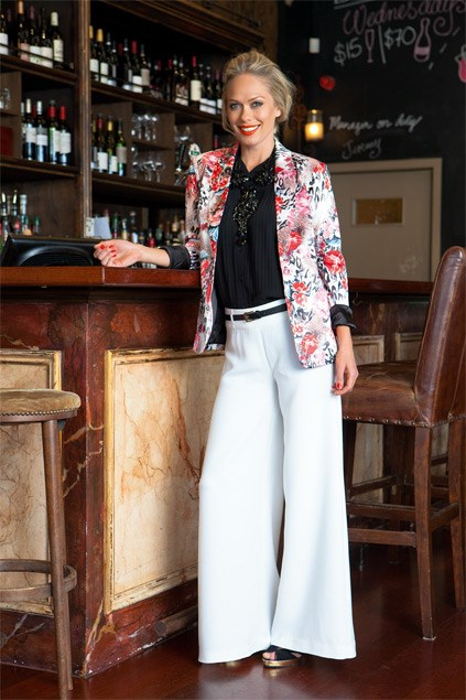 Pantsuit: I personally love a good pantsuit. It shows you have the confidence in your style to do something a little different. Stitch Ministry pleat blouse $79.99 (8-16) from Farmers. Embellished poppy collar $89.95, print blazer $170 (8-14), both from Decjuba. Stella Palazzo pant $12 (6-18) from Max. Reallife heels $209.90 from Overland.