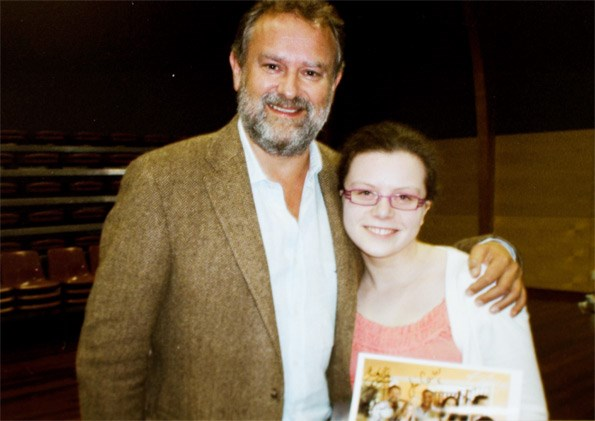 The 17-year-old got the surprise of her life when Hugh dropped by.