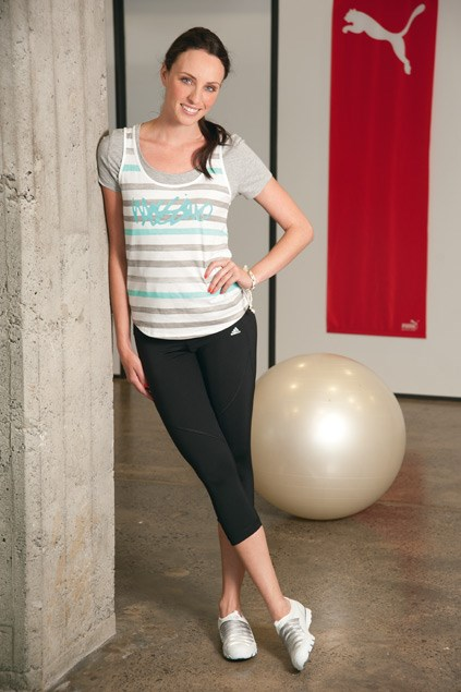 T-shirt $45 (XS-L) from Boohoo. Mossimo tank top $30.99 (8-14) from Farmers. Karma ties $9.99 from Equip. Spo core leggings $80 (8-16) from Adidas. Biker funhouse trainers $129.90 from Overland.