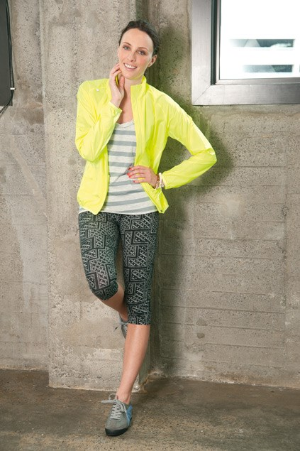 Aero neon jacket $80 (S-XL) from Champion. Mossimo tank $44.99 (8-14) from Farmers. Print leggings $14.99 (6-16) from Glassons. Karma ties $12.99 from Equip. Vital trainers $169.90 from Overland.