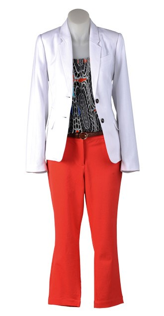 FRIDAY: Emerge blazer $79.99 (8-22) from EziBuy. Now print cami $19 (8-16) from Kmart. Slim belt $29.99 from Jacqui-E. Tailored pant $99.99 (6-16) from Jacqui-E.