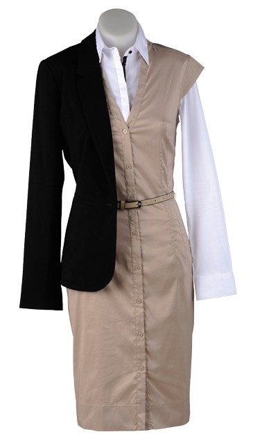 MONDAY: Shirt story: A well-fitting white shirt is a must-have item. It flatters most body shapes and is easy to layer under dresses and blazers. Essential blazer $159 (6-18) from Max. Essential contrast shirt $79 (6-18). Military dress $199 from Esprit (6-16) from Max.