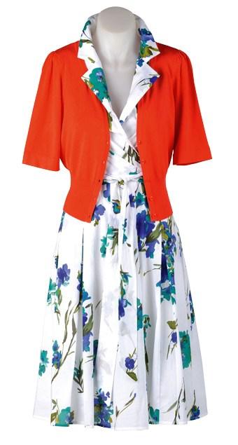 SUNDAY: Cardi $69.99 (XS-XL) from Jacqui-E. Capture floral dress $69.99 (8-20) from EziBuy.