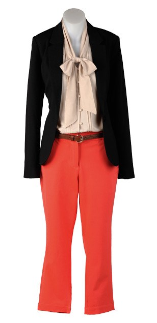 TUESDAY: Essential blazer $159 (6-18) from Max. Bow blouse $169 (6-16) from Esprit. Slim belt $29.99 from Jacqui-E. Tailored pant $99.99 (6-16) from Jacqui-E.