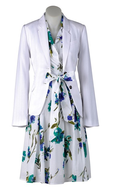 WEDNESDAY: Go the blazers: A white blazer is the perfect summer alternative to black. Wear it over dresses or with classic suit pants to create a fresh contrast. Emerge blazer $79.99 (8-22) from EziBuy. Capture floral dress $69.99 from EziBuy (8-20).