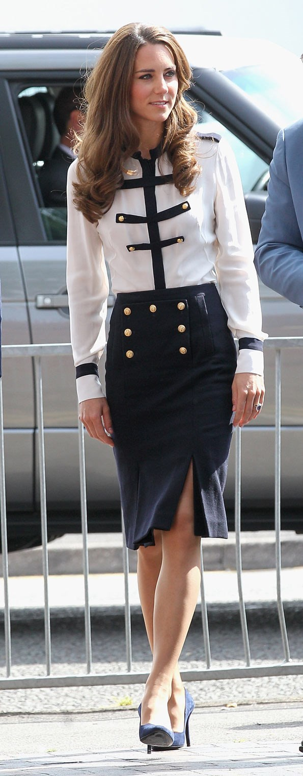 Kate embraced the military look with this Alexander McQueen outfit last year.