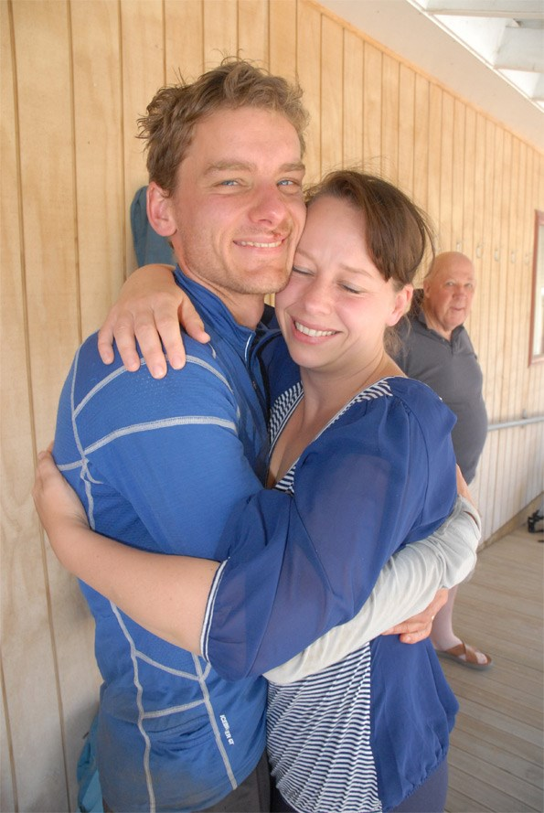 A relieved Juliane is reunited with her husband.