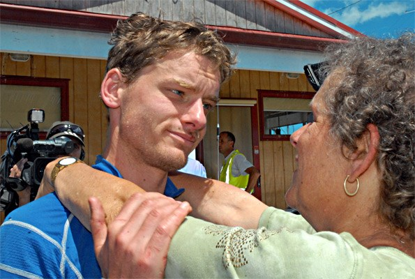 A weary and relieved Alastair is reunited with his mother Rachel.