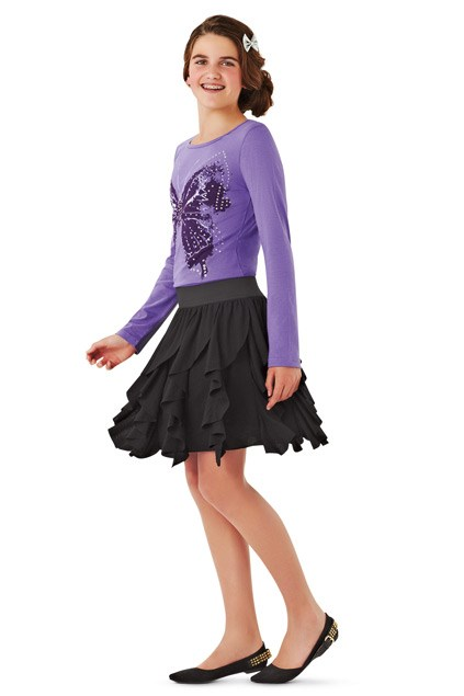 Expressions top $17.99 (8-14), Expressions skirt $24.99 (8-14), Bow clip $7.99, Lucille dress shoes $59.99, all from Farmers (available from February 2)