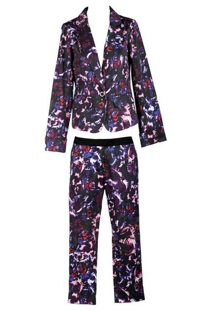 Top: Ignite print blazer $69.99 (8-18) from Farmers; Bottom: Ignite print pants (8-18) $49.99 from Farmers.