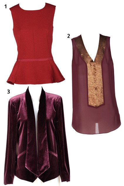 1. Whistle peplum top $79.99 (8-18) from Farmers; 2. Sequin panel top $139 (6-18) from Max Available from March 4; 3. Velvet drape jacket $159 (6-18) from Max. Available from March 11.