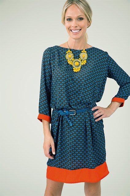 Chunky necklace $34.99 from Diva. Foray dress $119 (8-16) from Ketz-ke. Woven belt $49 from Ketz-ke.
