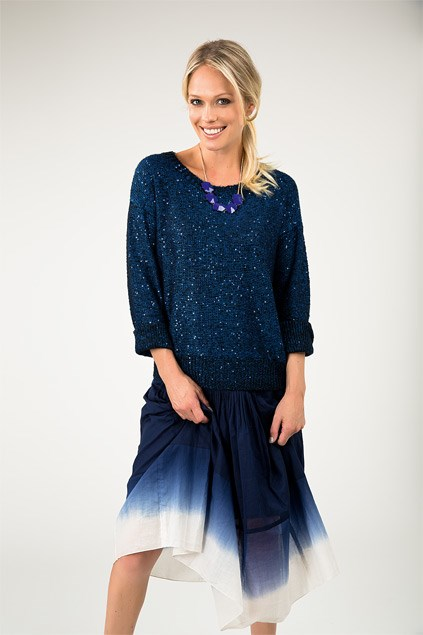 Chunky necklace $12.99 from Equip. Sparkle jumper $119 (XS-XL) from Max. Tie-dye skirt $139 (6-16) from Trenery.