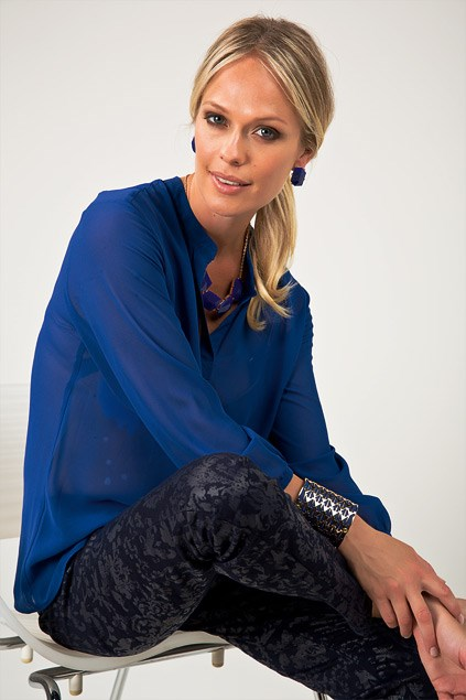 Capture chiffon blouse $49.99 (8-20) from EziBuy Grace Hill jeans $89.99 (8-18) from EziBuy, Earrings $7.99 from Equip, Chunky necklace $12.99 from Equip. Cuff $16.99 from Diva.