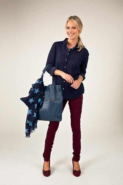 Spot shirt $109 (4-16) from Country Road, Pearl and chain necklace $19.99 from Equip, Star scarf $79.90 from Country Road. Tote bag $279 from Country Road. Slim leg Jeans $99 (8-16) from Max, Tasselled heels $149 from Max.