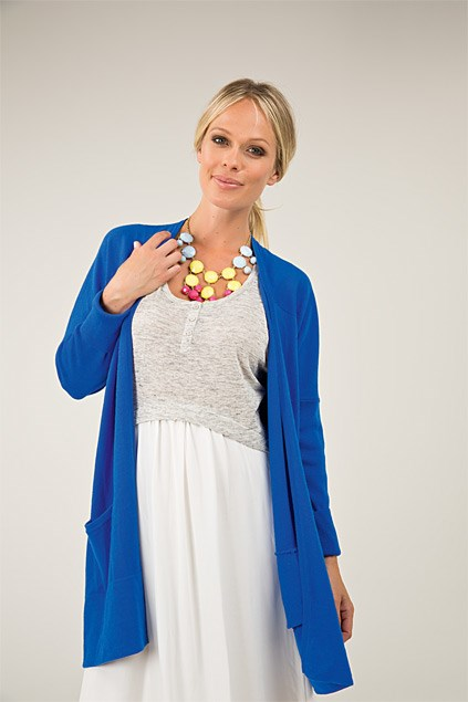 Multicoloured necklace $22.99 from Diva. Step cardi $299.99 (S-L) from Moochi. Maxi dress $169.90 (6-16) from Witchery.