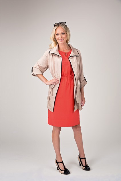 Pocket dress $140 (6-16) from Trenery. Contrast trench $169.99 (6-16) from Jacqui-E. Glasses $19.99 from Equip. Roberta T-bar heels $199.90 from Overland.