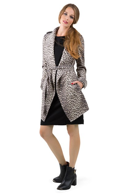 1. Panel dress $79.99 from Suzanne Grae. Animal print trench $379.90 from Country Road. Bow necklace $8.99 from Diva Bitedo buckle boot $340 from Mi Piaci.