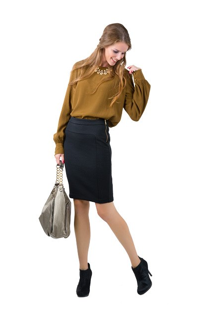 4. Daliah top $229 from Gregory. Quilted pencil skirt $109, Jane boots $279, both from Country Road. Metallic bag $69.99 from Portmans. Hearts on chain necklace $22.99 from Equip.