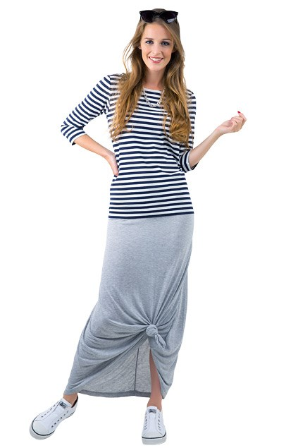 6. Stretchy maxi $29.99 from Glassons. Classic stripe T-shirt $64.90 from Trenery. Chain necklace $24.90 from Esprit. Cat eye sunglasses $19.99 from Equip. Hepburn canvas shoes $79.90 from Overland.