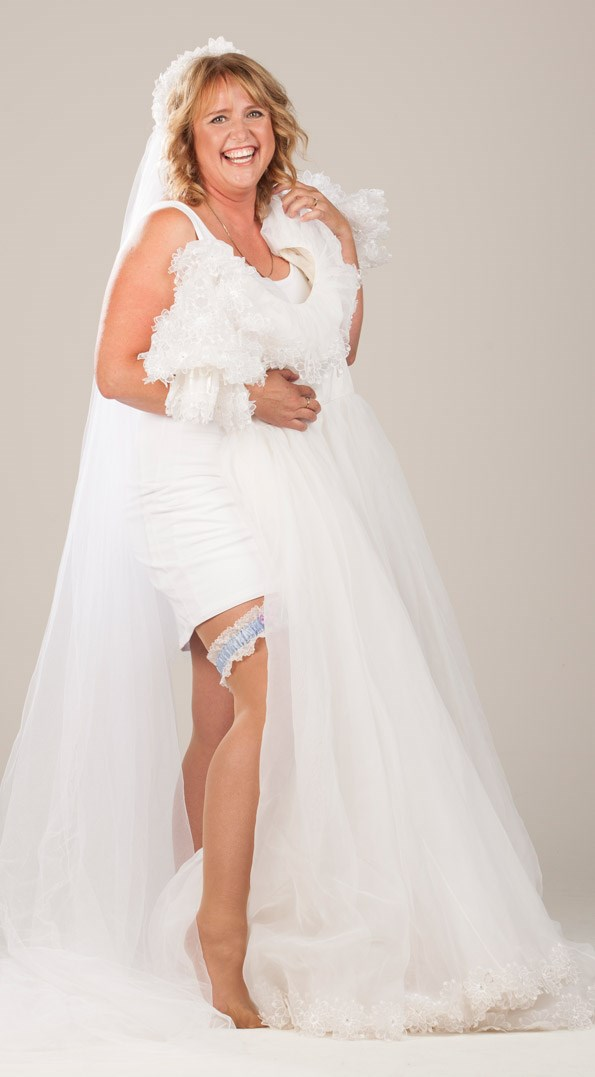 Vivian's organza dress with  lace daisy details was bought  second-hand for $500. PhotoMichelle Hyslop