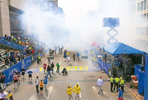 The city streets emptied out after the explosions, 117th Boston Marathon. (Photo by David L. RyanThe Boston Globe via Getty Images)