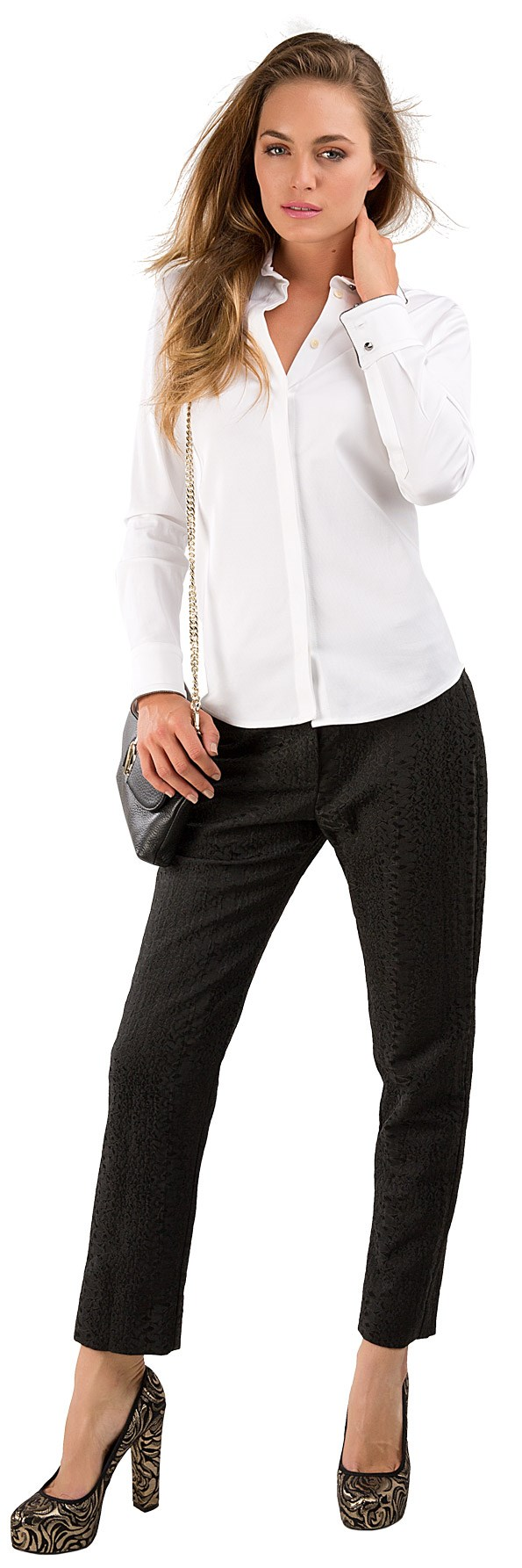 SMART Chains of Love shirt $249 from Trelise Cooper. Rock and Stroll pants from Trelise Cooper. Chain bag $190, Morse heel $230, both from Mi Piaci.