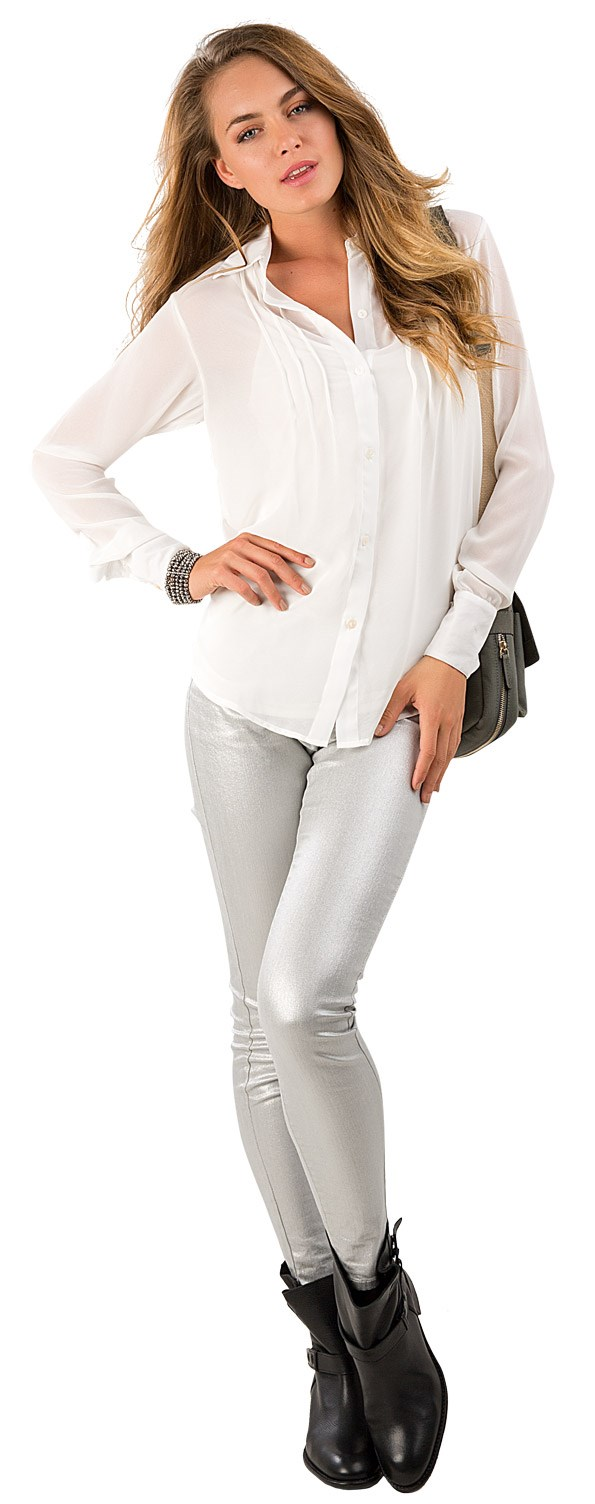CASUAL Woman's Rose shirt $149.90 from Now & Then. Metallic jeans $109, Faye bag $229, Lauris biker boot $279, all from Country Road. Cuff $14.99 from Equip.