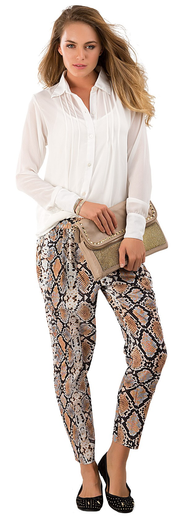 SMART Woman's Rose shirt $149.90 from Now & Then. Snake print pant $149.90 from Country Road. Woven bracelets $10.99 each from Diva. Skyline clutch $140 from Skin. Dance out ballet flat $69.99 from Hannahs.