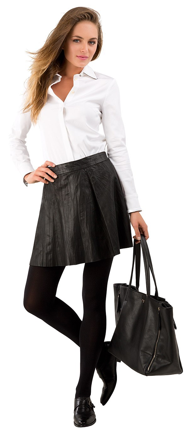 CASUAL Chains of Love shirt $249 from Trelise Cooper. Leather skirt $279 from Country Road. Opaque Tights $14.95 from Farmers. Zip bag $39.99 from Glassons. Explore brogue $240 from Mi Piaci.