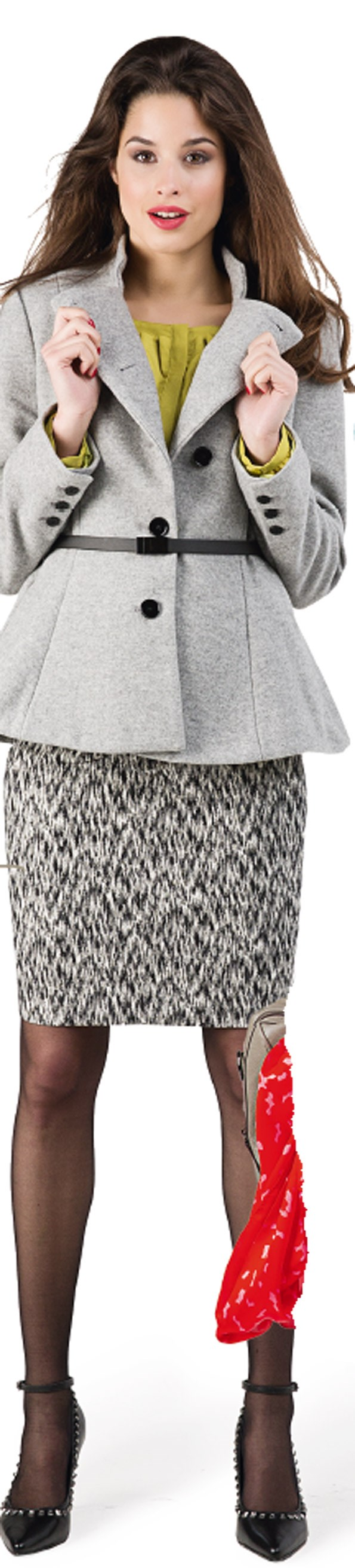 Pencil Skirt - WORK Ruffle neck blouse $149 from Esprit. Wool jacket $329 from Esprit. 15 Denier tights $24.95 from Farmers. Adele heel $179.90 from Overland