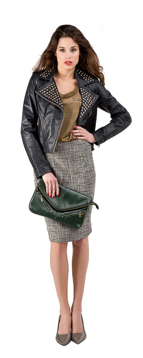 Tweed Skirt - PLAY Studded genuine leather jacket $249 from Just Jeans. Metallic T-shirt $49.99 from Portmans. Forest clutch $24.99 from Glassons. Annamarie heel $189.90 from Overland.