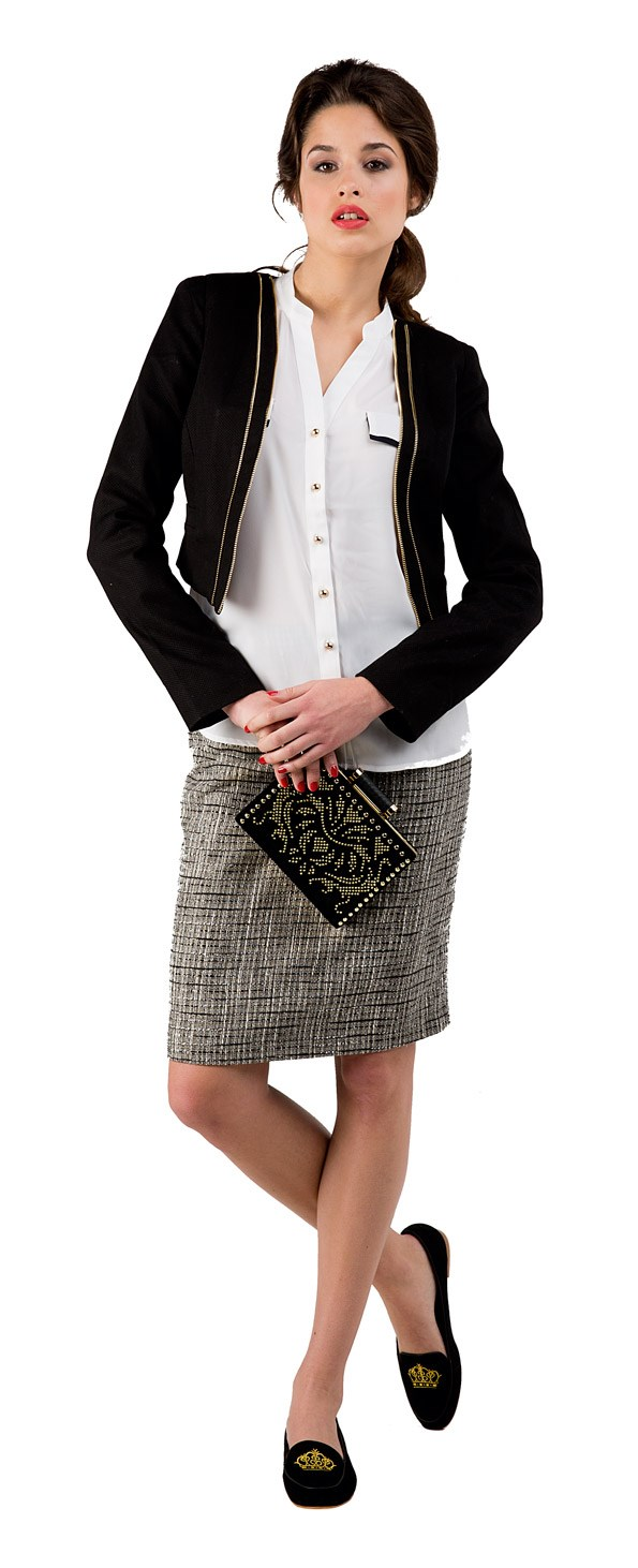 Tweed Skirt - WORK Contrast shirt $49.99 from Just Jeans. Zip jacket $149.99 from Portmans. Velvet clutch $49.99 from Portmans. Kylie loafers $210 from Mi Piaci